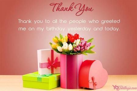 Beautiful Flowers Birthday Thank You Wishes Card Maker Online