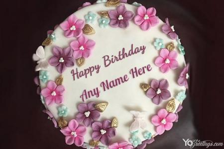 Lovely Flowers Birthday Name Cakes Online Free Download