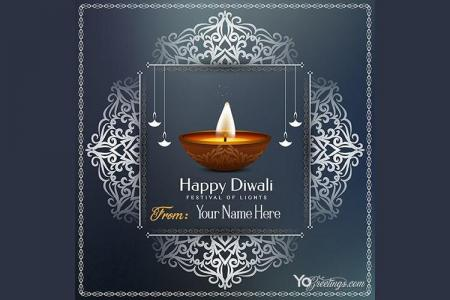 Write Name on Diwali Wishes Card Images
