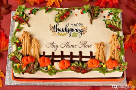 Happy Thanksgiving Birthday Cakes With Name Generator