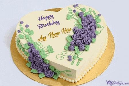 Happy Birthday Heart Flower Cakes With Name Online Free