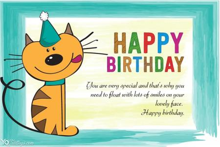 Free Printable Funny Birthday Card With Cat Maker Online