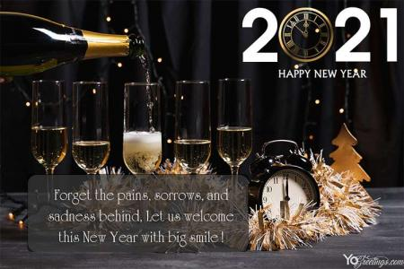 Cheers!! Champagne New Year 2021 Greeting Cards Maker Online