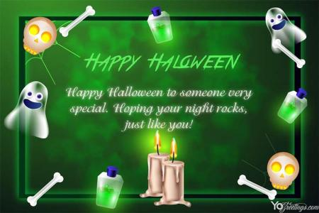 Personalized Glowing Halloween Card With Name Wishes