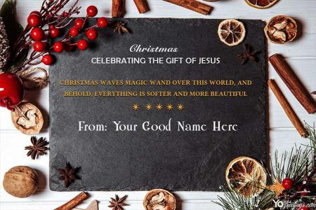 Unique Merry Christmas Wish Card With Name Edit