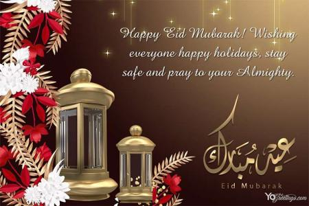 Decorative Sparkling Eid Mubarak Greeting Cards With Wishes