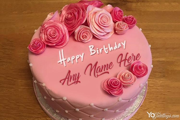 Stupendous Pink Rose Birthday Cake Images With Name Generator Funny Birthday Cards Online Alyptdamsfinfo