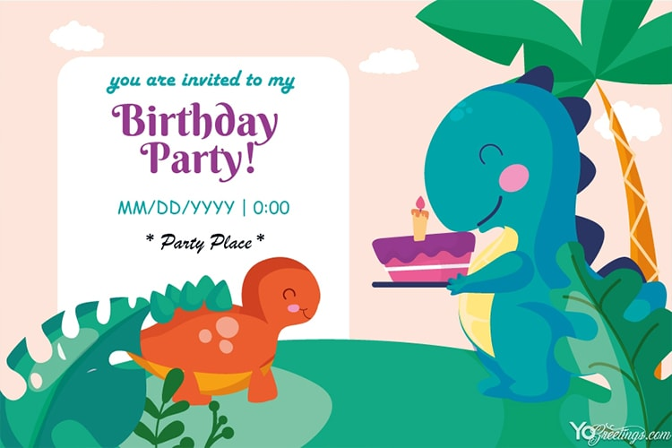 Free Lovely Birthday Party Invitation Card Maker Online
