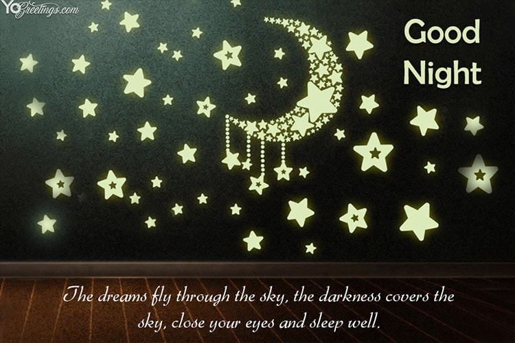 Create Good Night Wishes Greeting Cards Online