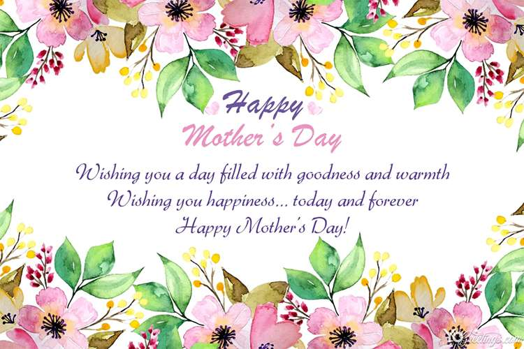 happy mother's day flower card with wishes