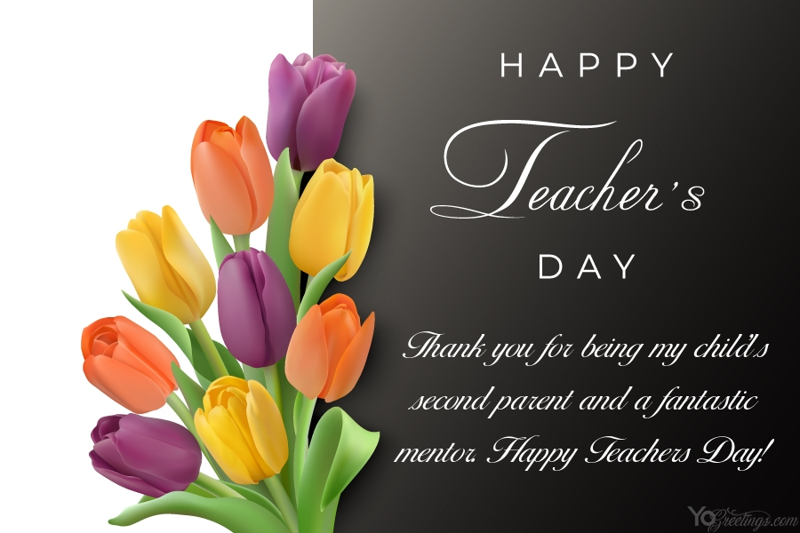 write wishes on happy teachers day card with flowers