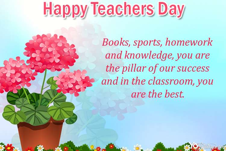 Beautiful Flower Happy Teacher's Day Card Messages