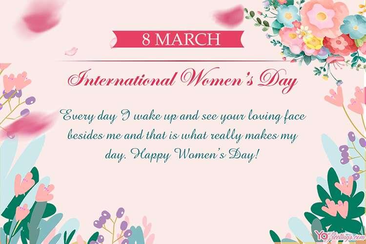 Custom Floral International Women's Day March 8 Greeting Card