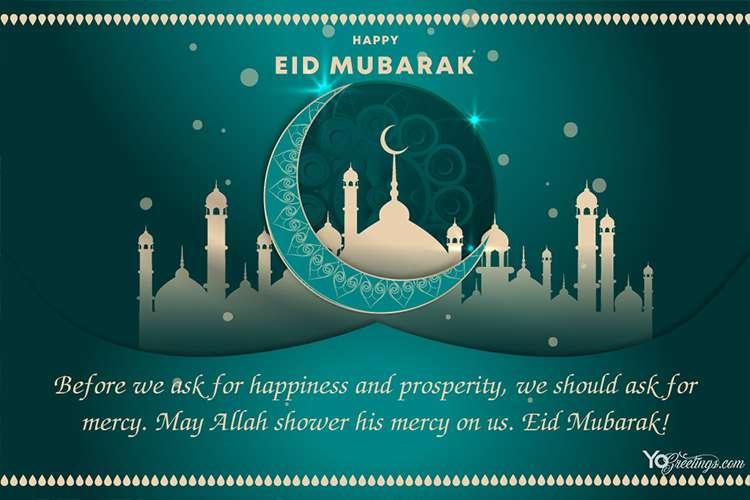 Customize Our Blue Eid Mubarak Card Templates Online