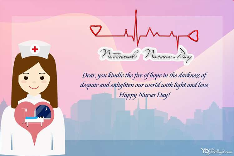 Happy National Nurses Day Wishes Cards Maker Online