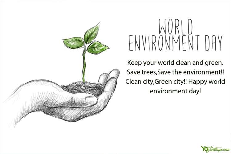 Realistic Sketch Hand With Plant For World Environment Day Cards