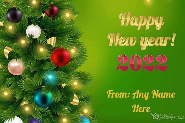 Happy New Year 2022 Greeting Card With Name Generator